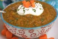 Zuppa di zucchine, carote  mais e yogurt